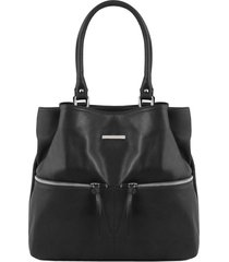tuscany leather tl141722 tl bag - borsa a spalla in pelle con tasche frontali nero
