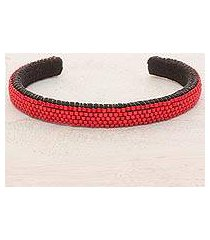 beaded cuff bracelet, 'beautiful horizon in scarlet' (el salvador)