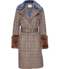 jacket in check scuba w. faux fur d wollen jas lange jas bruin coster copenhagen