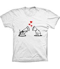 camiseta lu geek manga curta amor de cão branco