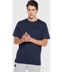 camiseta azul under armour left chest short sleeve