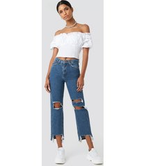 anna nooshin x na-kd highwaisted front ripped jeans - blue