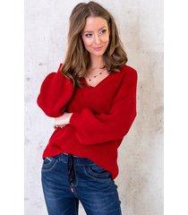 gebreide trui met v-hals rood