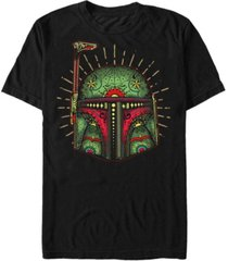star wars men's boba big face sugar skull short sleeve t-shirt