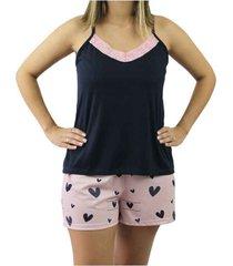 pijama de alcinha touro boots feminino preto e rosa estampado - kanui