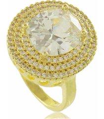 anel oval branco com mini zircônias cravejadas 3rs semijoias dourado