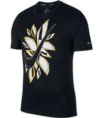 camiseta de hombre m nk run ss fiesta floral nike negro