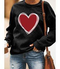 rojo corazón camiseta con estampado gráfico cuello sudadera de manga larga