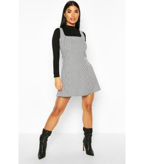 petite dogtooth pinafore dress, black