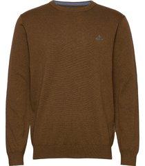 classic cotton c-neck stickad tröja m. rund krage brun gant