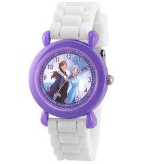 disney frozen 2 elsa, anna girl's purple plastic time teacher watch 32mm