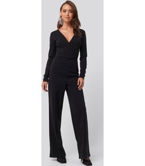na-kd overlap wide leg jumpsuit - black