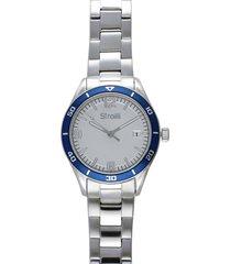 wimbledon orologio in acciaio silver con quadrante bianco e ghiera blu per uomo