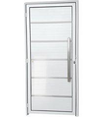 porta direita com lambri e puxador em alumínio super 25 premium 210x90cm branca