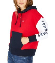 tommy jeans colorblocked logo graphic hoodie