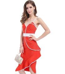 vestido bicolor asimétrico rojo/blanco nicopoly