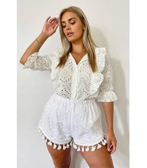 plus kraagloze broiderie anglaise blouse met ruches, white