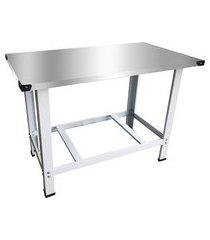 mesa de serviços industrial inox 120x70cm kenok ms120 branco/prata