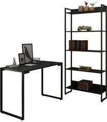 conjunto escritã³rio mesa escrivaninha 120cm e estante 5 prateleiras estilo industrial new port f02 preto - mpozenato - preto - dafiti