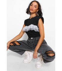 mesh frill cap sleeve t shirt, black