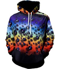 digital teardrop print gradient front pocket casual hoodie