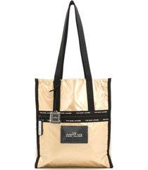 marc jacobs bolsa tote metálica com acabamento de canvas - dourado