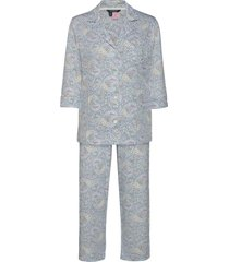 lrl 3/4 sl. notch collar pant pj set pyjamas blå lauren ralph lauren homewear
