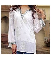 beaded cotton tunic, 'paisley whisper' (india)