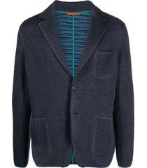 missoni stitched-edge linen-blend jacket - blue