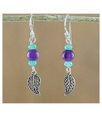 amethyst and quartz beaded dangle earrings, 'candy forest' (thailand)
