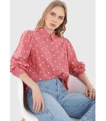 camisa rosa-blanco mng