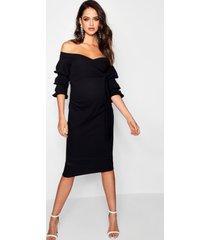 positiekleding midi-jurk met blote schouder, zwart