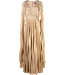 marchesa notte pleated cape detail kaftan gown - gold