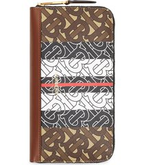 burberry monogram stripe e-canvas and leather ziparound wallet - brown