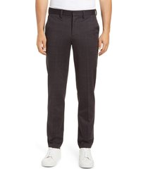liverpool los angeles liverpool saville flat front glen plaid pants, size 42 x 34 in charcoal/brown at nordstrom