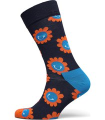 smiley flower sock underwear socks regular socks svart happy socks