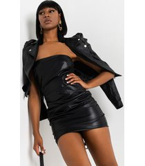 akira luxe faux leather ruched mini dress