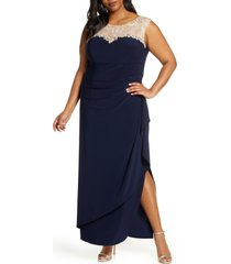 plus size women's alex evenings beaded lace neck evening dress