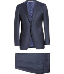 canali milano classic fit solid wool suit, size 44 us in navy at nordstrom