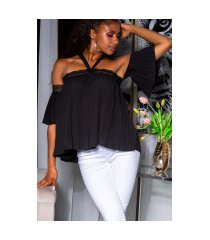 sexy off-shoulder blouse met kant zwart