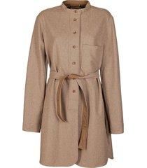 lemaire beige cotton-wool blend coat
