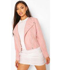 lightweight brushed biker jacket, dusky pink