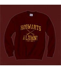 ha1 hogwarts alumni yellow ink unisex crewneck sweatshirt maroon