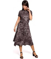 lange jurk be b144 bedrukte uitlopende jurk - grijs