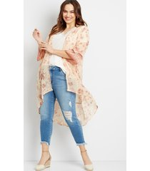maurices plus size womens light pink floral bell sleeve kimono