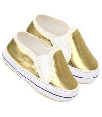 tênis bebê slip-on feminino dourado (p/m/g) - baby soffete - tamanho p - dourado