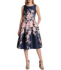 tahari asl floral jacquard fit & flare dress