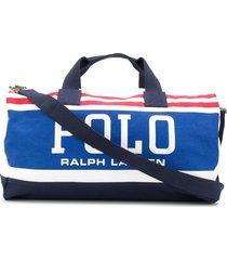 polo ralph lauren striped-logo duffle bag - white