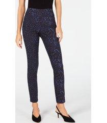 inc blue leopard skinny pants, created for macy's