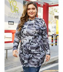 yoins plus tamaño gris oscuro con capucha diseño camo vestido